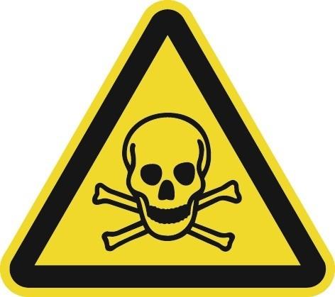 Folie f.giftige Stoffe 200x200mm 3-eckig gelb/schwarz ASR A1.3 DIN EN ISO 7010