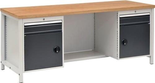 Werkbank B2000xT750xH859 grau/anthr.Schubladen 2x150 Türen 2x450 40mm Multiplex