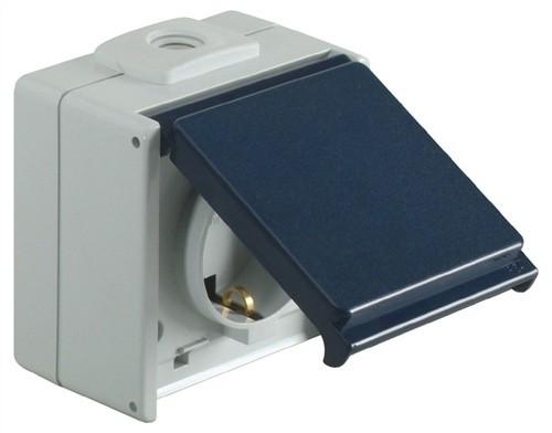 Schuko-Steckdose IP54 1fach 250V AC 50Hz 10/16A m.Klappdeckel