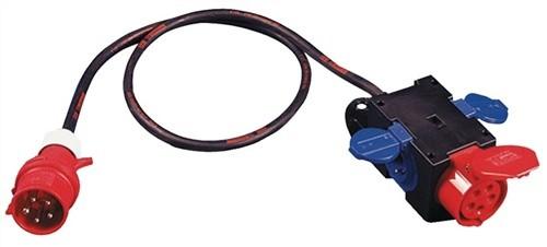 Kompaktverteiler IP44 H07RN-F5G2,5mm2 Ein-/Ausg.CEE/Kupplung Ausg.2xSchuko