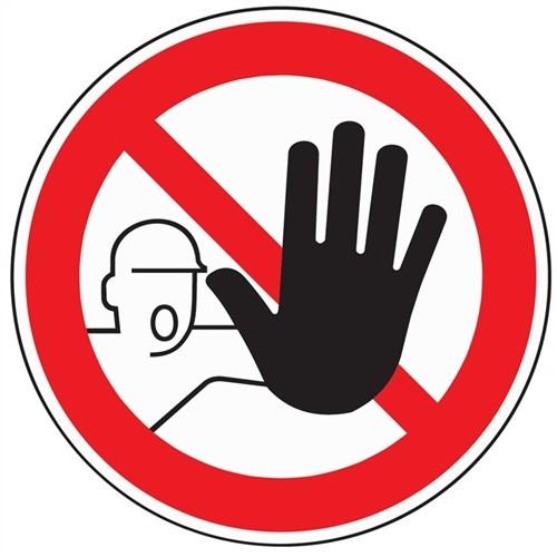 Folie Zutritt für Unbefugte verboten D.200mm rot/schwarz selbstklebend