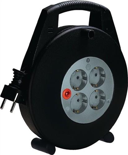 Kabelbox Ku. Kabel-L.10m 4xSchuko rot-sw H05VV-F 3x1,5mm2 m.Thermoschutz