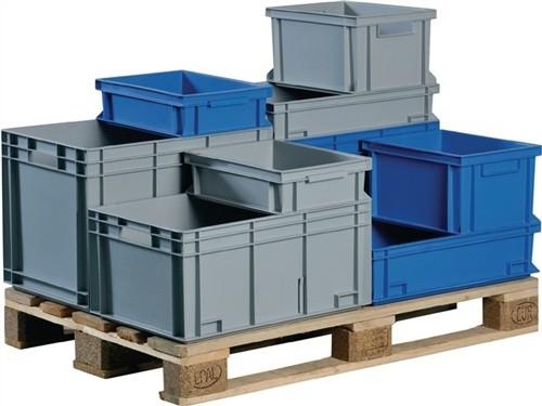 Transportstapelbehälter 24l PP grau Seitenwände geschl. Muschelgriff PROMAT