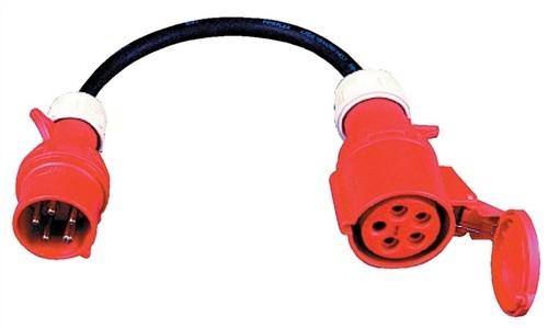 CEE-Adapter H07RN-F5x2,5mm 5polig schwarz Kuppl32A IP44 Stecker16A 1,0m Zuleit.
