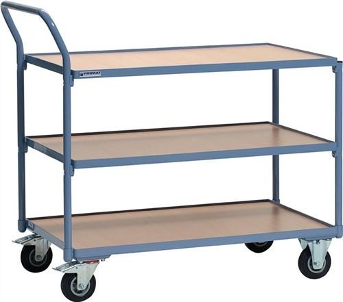 Tischwagen 3 Ladeflächen Trgf. 250kg L1000xB600mm Holzwerkstoff PROMAT RAL 5014