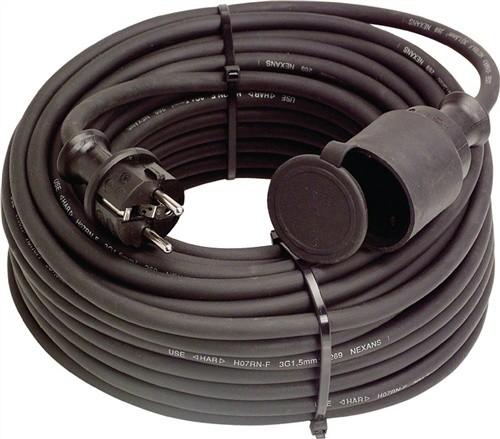 Gummiverlängerungskabel H07RN-F3x1,5mm2 L.15m schwarz IP44 SIROX f.innen u.außen
