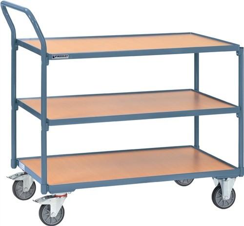 Tischwagen 3 Ladeflächen Trgf. 250kg L850xB500 Holzwerkstoff PROMAT RAL 5014