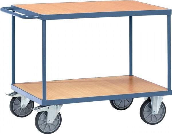 Tischwagen PROMAT 2 Ladefl.L850xB500mm Holzwerkst.Stahlrohr RAL 5014 Trgf.400