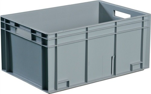 Transportstapelbehälter 5l PP grau Seitenwände geschl. Muschelgriff PROMAT