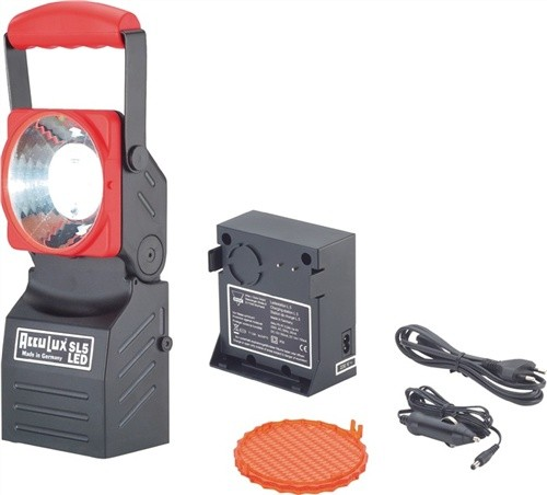 Arbeits-/Notstromleuchte AccuLux SL5 LED Se rot, Leucht-W.150m