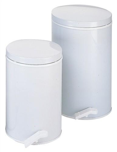 Tretabfallsammler H.500xD.310mm Rumpf/Deckel aus Stahlblech weiß Inhalt 13l