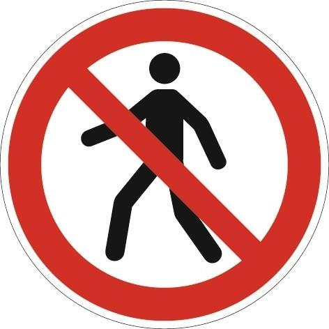 Folie Fußgänger verboten D.200mm Ku. rot/schwarz ASR A1.3 DIN EN ISO 7010