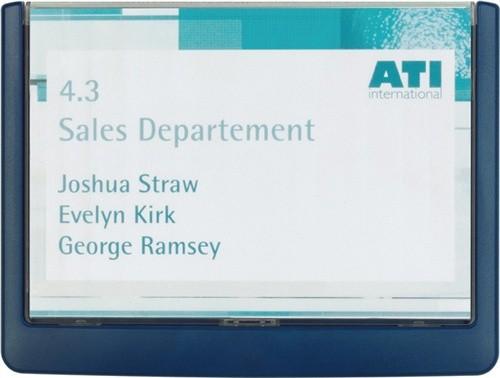 Türschild ABS B.149xH.105,5mm Sichtfenster Acryl Rücken blau
