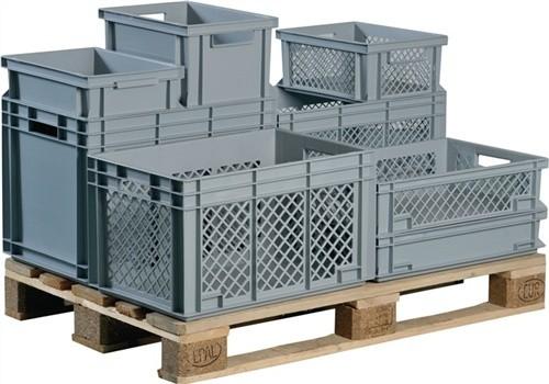 Transportstapelbehälter 31l PP grau Seitenwände durchbrochen Durchfassgriff