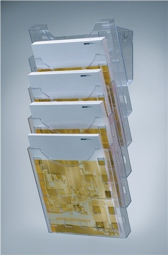 Wandprospekthalter Ku. f.5xDINA4 hoch grau-transparent