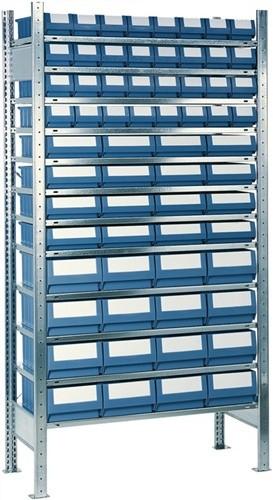 Steck-Grundregal H2000xB1000xT400 12 Böden Kästen: 32xGr.4,16xGr.5,16xGr.6 blau
