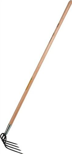 KARTOFFELHACKE 4-zinkig m. Stiel 135cm Zinkenlänge 19cm geschmiedet runde Zinken