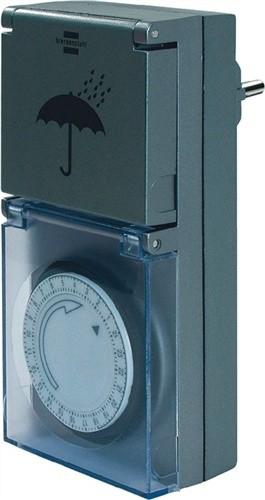 Zeitschaltuhr mechanisch 230V IP44 weiß B.70xH.125xT.80mm REV f.Außenbereich