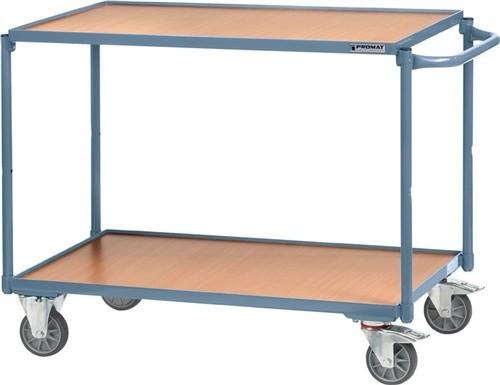 Tischwagen 2 Ladeflächen Bügel gerade Trgf.250kg L850xB500mm PROMAT RAL5014