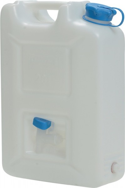 Wasserkanister 20l HD-PE natur mit integriertem Auslaufhahn H495xB350xT165mm