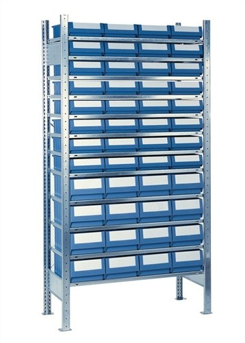 Steck-Anbauregal H2000xB1000xT500mm 12 Böden Kästen: 32xGr. 8, 16xGr.9 blau