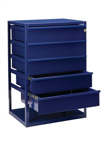 Regalelement Thekenschrank 5 Schubl. LOGS 190 H795xB540xT390mm Blau RAL 5022