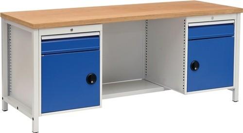 Werkbank B2000xT750xH859 grau/blau Schubladen 2x150 Türen 2x450 40mm Multiplex