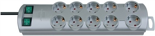 Steckdosenleiste 10fach m.2Schalter weiß L.2m BRENNENSTUHL H05VV-F