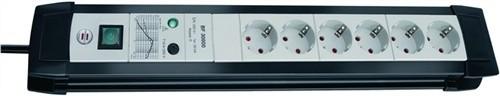 Steckdosenleiste 6fach m.Schalter schwarz/weiß L.3m H05VV-F