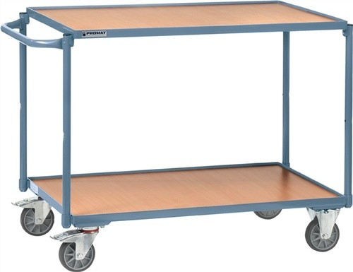 Tischwagen 2 Ladeflächen Bügel gerade Trgf.250kg L1000xB600mm PROMAT RAL5014