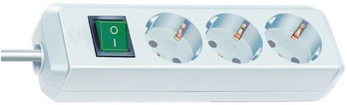 Steckdosenleiste 3fach m.Schalter weiß L.1,5m BRENNENSTUHL H05VV-F