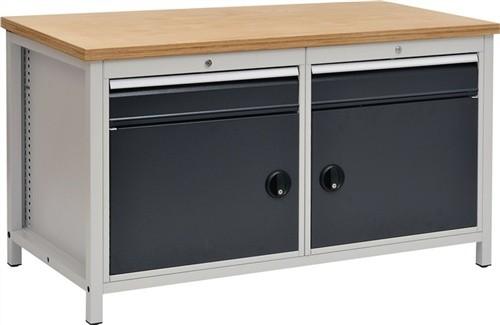Werkbank B1500xT750xH859 grau/anthr.Schubladen 2x150 Türen 2x450 40mm Multiplex